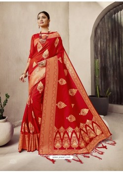 Red Designer Classic Wear Jacquard Wedding Sari