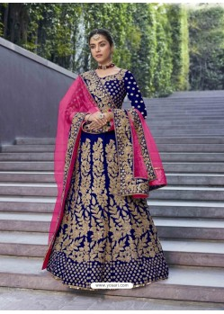 Royal Blue Stylish Heavy Designer Wedding Velvet Lehenga Choli