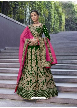 Forest Green Stylish Heavy Designer Wedding Velvet Lehenga Choli