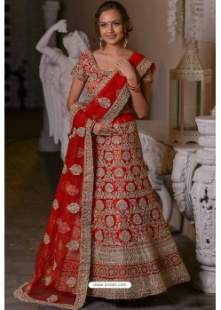 Red Heavy Embroidered Designer Net Wedding Lehenga Choli