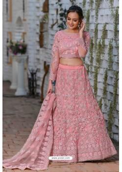 Light Pink Heavy Embroidered Designer Net Wedding Lehenga Choli