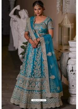 Blue Heavy Embroidered Designer Net Wedding Lehenga Choli