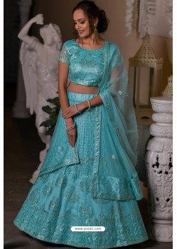 Turquoise Heavy Embroidered Designer Net Wedding Lehenga Choli