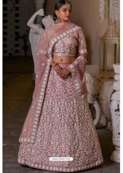 Baby Pink Heavy Embroidered Designer Net Wedding Lehenga Choli