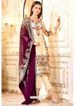 Off White Latest Heavy Designer Party Wear Pakistani Style Salwar Suit