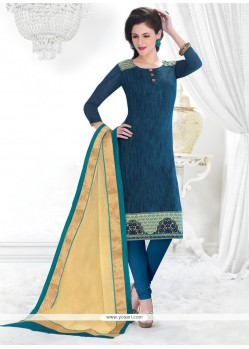 Beckoning Chanderi Blue Lace Work Churidar Salwar Kameez