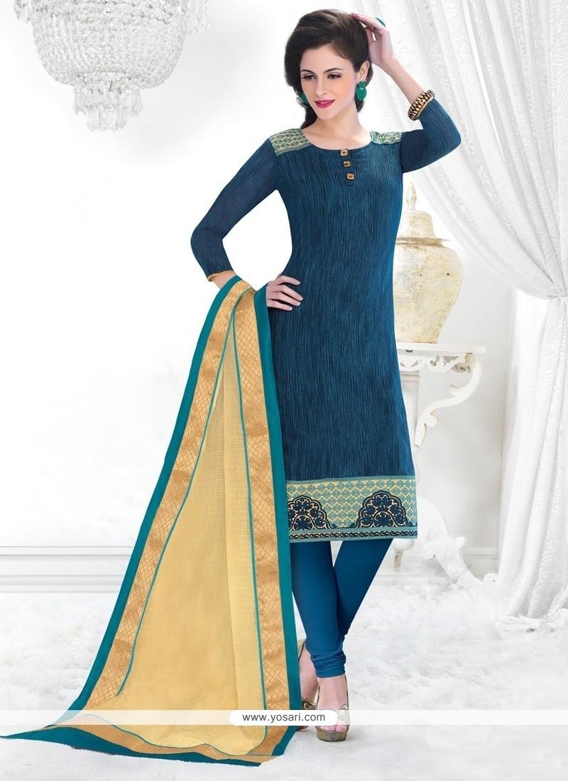 Beckoning Chanderi Blue Lace Work Churidar Salwar Kameez