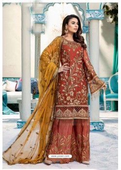 Rust Latest Heavy Designer Party Wear Pakistani Style Salwar Suit