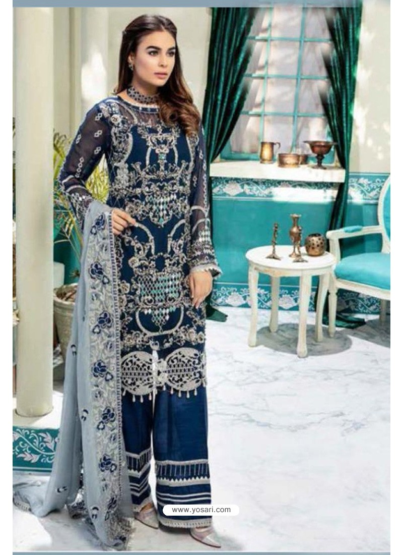Navy Blue Latest Heavy Designer Party Wear Pakistani Style Salwar Suit