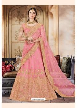 Light Pink Trendy Heavy Embroidered Designer Wedding Lehenga Choli