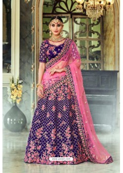 Violet Trendy Heavy Embroidered Designer Wedding Lehenga Choli