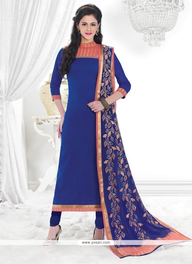 Dilettante Chanderi Lace Work Churidar Designer Suit