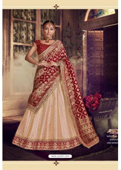 Cream Trendy Heavy Embroidered Designer Wedding Lehenga Choli