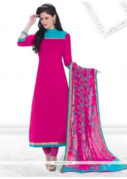 Especial Chanderi Hot Pink Lace Work Churidar Designer Suit