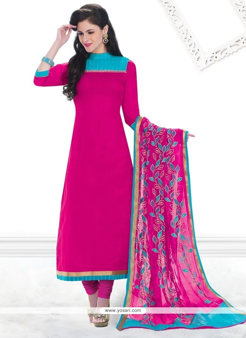 Especial Chanderi Hot Pink Lace Work Churidar Designer Suit