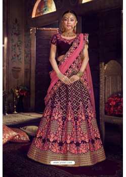 Purple Trendy Heavy Embroidered Designer Wedding Lehenga Choli