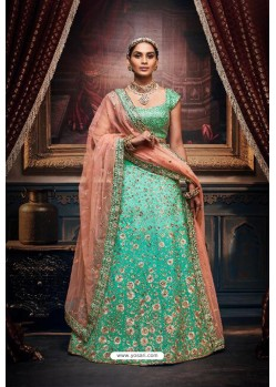 Aqua Mint Trendy Heavy Embroidered Designer Wedding Lehenga Choli