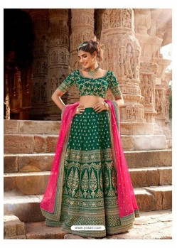 Dark Green Trendy Heavy Embroidered Designer Wedding Lehenga Choli