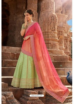 Green Trendy Heavy Embroidered Designer Wedding Lehenga Choli