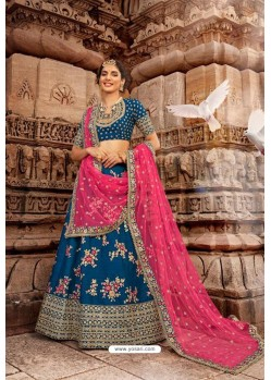 Dark Blue Trendy Heavy Embroidered Designer Wedding Lehenga Choli