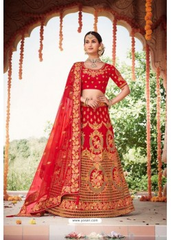 Red Heavy Designer Bridal Wedding Wear Silk Lehenga Choli
