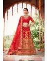 Red Heavy Designer Bridal Wedding Wear Silk Lehenga Choli