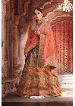 Grey Heavy Designer Bridal Wedding Wear Silk Lehenga Choli