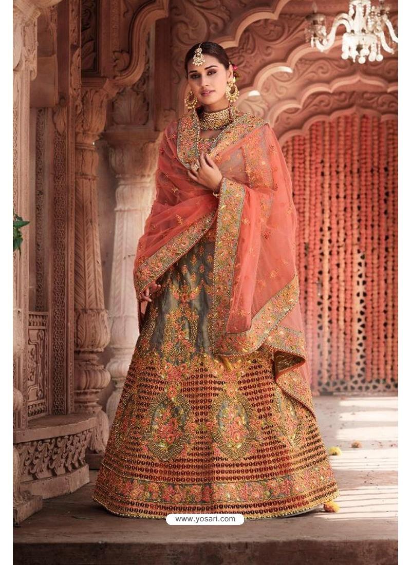 Grey Heavy Designer Bridal Wedding Wear Silk Lehenga Choli