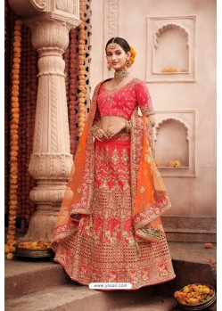 Peach Heavy Designer Bridal Wedding Wear Silk Lehenga Choli
