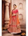 Peach Heavy Designer Bridal Wedding Wear Silk Lehenga Choli