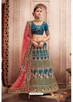 Dark Blue Heavy Designer Bridal Wedding Wear Silk Lehenga Choli