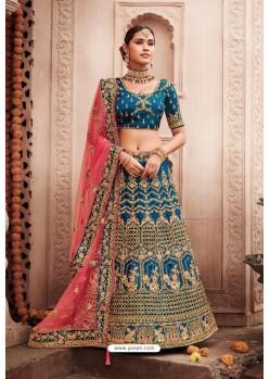 Dark Blue Heavy Designer Bridal Wedding Wear Silk Lehenga Choli