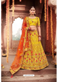 Yellow Heavy Designer Bridal Wedding Wear Silk Lehenga Choli