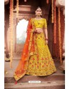 Yellow Heavy Designer Bridal Wedding Wear Silk Lehenga Choli