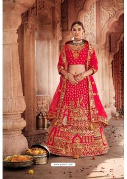 Dark Peach Heavy Designer Bridal Wedding Wear Silk Lehenga Choli