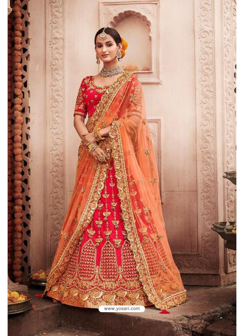 Fuchsia Heavy Designer Bridal Wedding Wear Silk Lehenga Choli