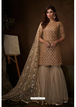 Gold Latest Heavy Designer Wedding Sharara Salwar Suit