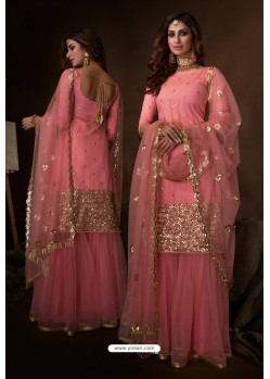 Pink Latest Heavy Designer Wedding Sharara Salwar Suit