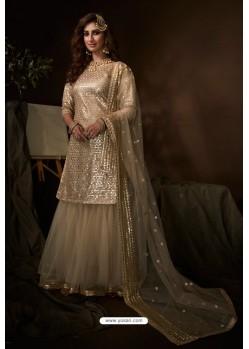 Light Beige Latest Heavy Designer Wedding Sharara Salwar Suit