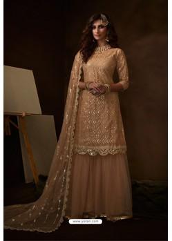 Beige Latest Heavy Designer Wedding Sharara Salwar Suit