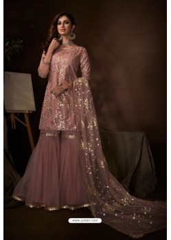 Dusty Pink Latest Heavy Designer Wedding Sharara Salwar Suit