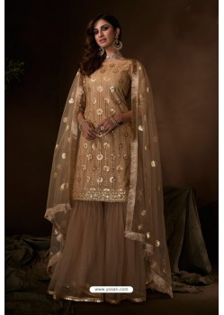 Beige Latest Heavy Designer Wedding Sharara Salwar Suit