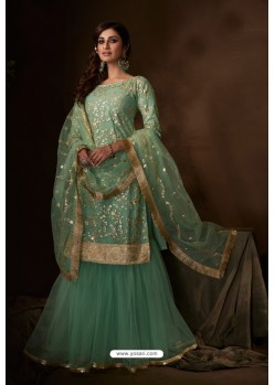 Green Latest Heavy Designer Wedding Sharara Salwar Suit