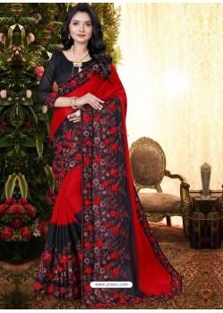 Red Stylish Party Wear Embroidered Designer Wedding Sari