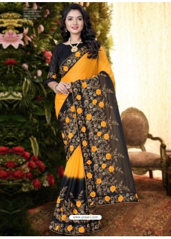 Yellow Stylish Party Wear Embroidered Designer Wedding Sari
