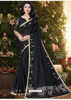 Black Stylish Party Wear Embroidered Designer Wedding Sari