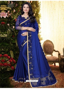 Royal Blue Stylish Party Wear Embroidered Designer Wedding Sari