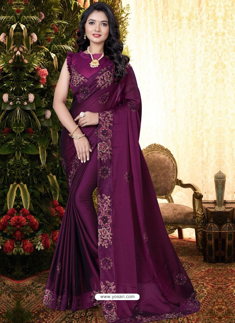 Deep Wine Stylish Party Wear Embroidered Designer Wedding Sari