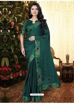 Dark Green Stylish Party Wear Embroidered Designer Wedding Sari