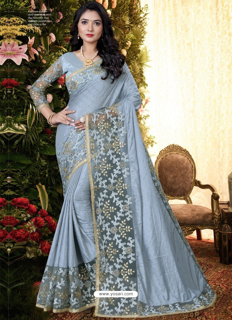 Silver Stylish Party Wear Embroidered Designer Wedding Sari
